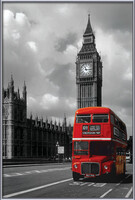 London red bus Poster encadré avec lamination