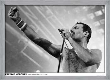 Poster encadré Freddie Mercury - Wembley 1984