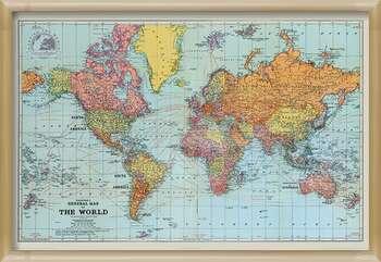 Poster encadré Stanfords General Map Of The World - Colour