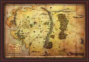Poster encadré The Hobbit - Middle Earth Map