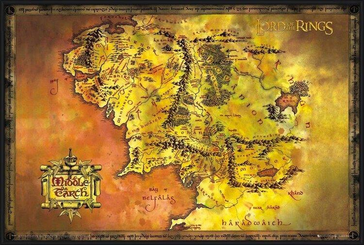 Le Seigneur des anneaux - Carte de la Terre du Milieu Poster