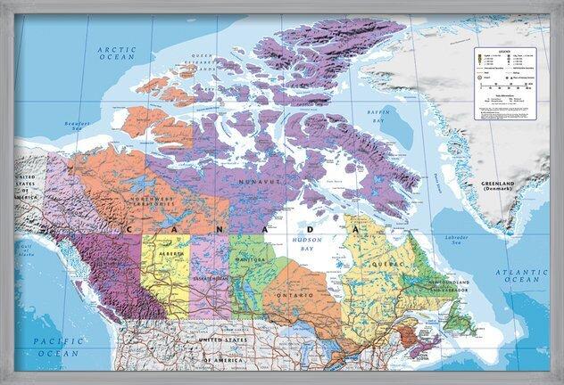 Carte du Canada - politique Poster