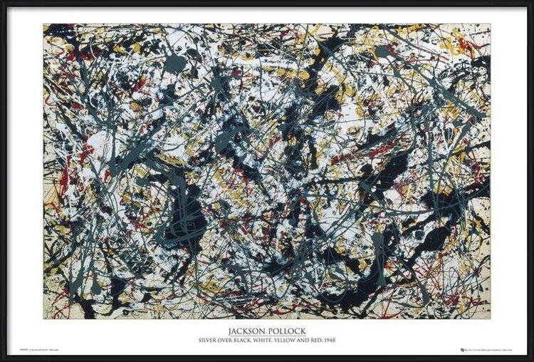 Jackson Pollock - silver on black Poster