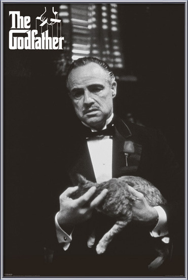 The Godfather - cat (B&W) Poster